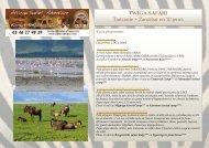 TWIGA SAFARI Tanzanie + Zanzibar en 10 jours