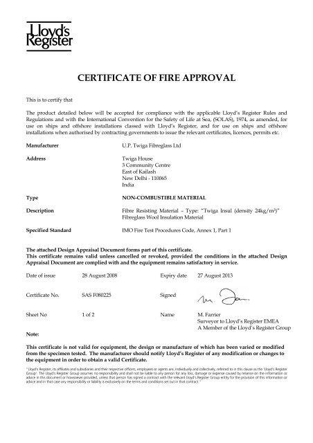 CERTIFICATE OF FIRE APPROVAL - Twiga Fiberglass Ltd