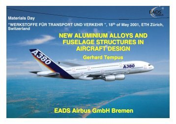 new aluminium alloys and fuselage structures in aircraft - ETH Zürich
