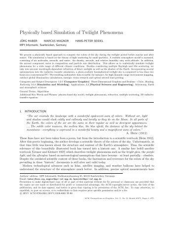 Physically based Simulation of Twilight Phenomena - CiteSeerX