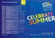 arts & eVents prograMMe - Canary Wharf Group