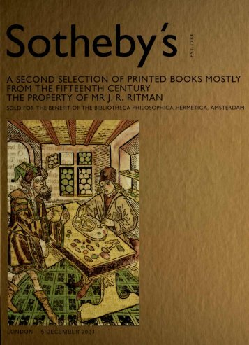 Sotheby's, Printed Books, 15th Century, Property of Mr