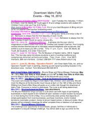 Downtown Idaho Falls Events – May 16, 2012