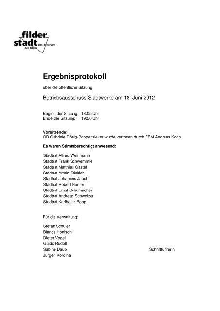 Betriebsausschuss Stadtwerke - Stadt Filderstadt