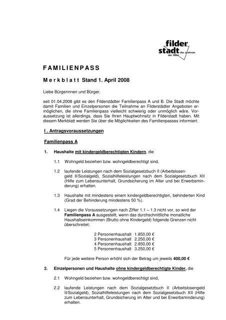 Familienpass Filderstadt - Stadt Filderstadt