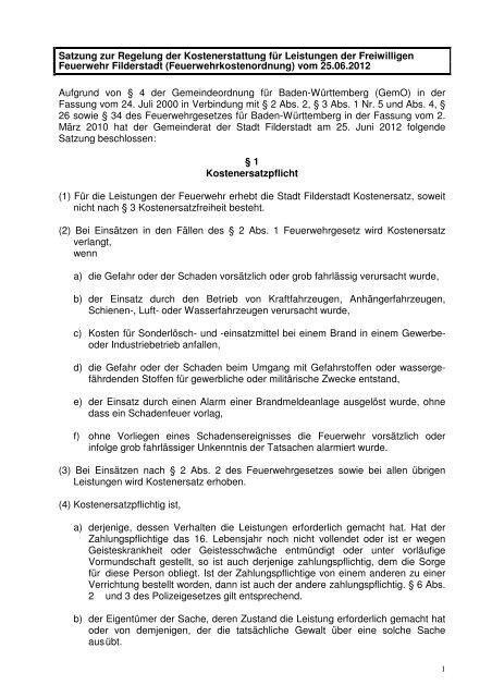 Feuerwehrkostenordnung - Stadt Filderstadt