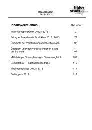 Übersichten und Anlagen zum Plan 2012/2013 - Stadt Filderstadt
