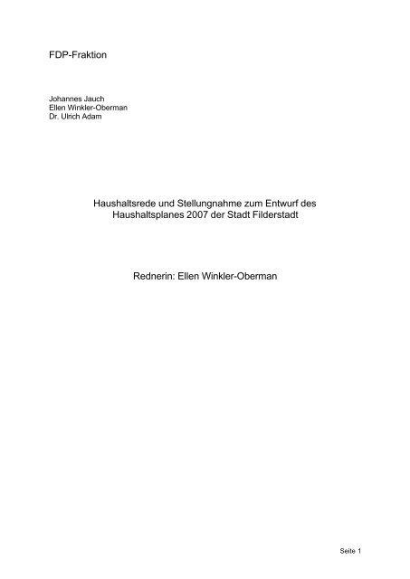 FDP-Fraktion Haushaltsrede und Stellungnahme  ... - Stadt Filderstadt