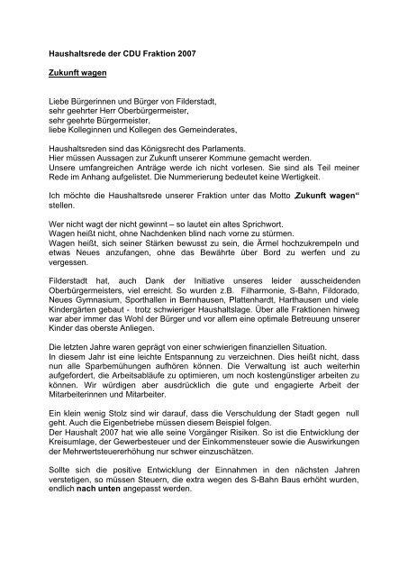 Haushaltsrede CDU Fraktion 2007 - Stadt Filderstadt
