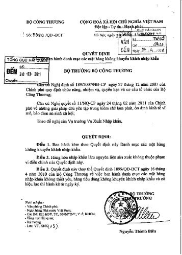 QĐ 1380/QD/BTC - Cục Hải quan Đồng Nai