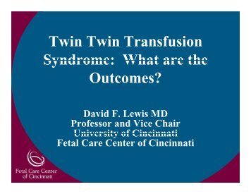 Twin Twin Transfusion Syndrome: What are the ... - March of Dimes