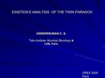EINSTEIN'S ANALYSIS OF THE TWIN PARADOX