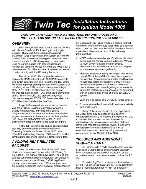 Model 1005 Installation Instructions - Daytona Twin Tec | Twintec Ignition System Wiring Diagram |  | Yumpu