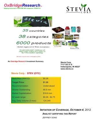 Stevia,STEV,Research Report