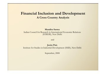 Financial Inclusion and Development: A Cross Country Analysis