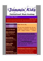 JK October 2012 Notes - Weston Florida Music Lessons