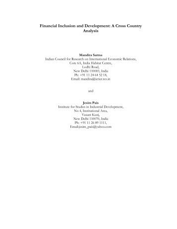 Financial Inclusion and Development: A Cross Country Analysis - icrier