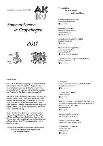 Sommerferien in Gröpelingen - TURA Bremen eV