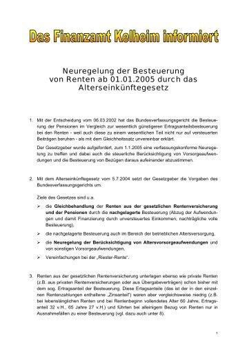 Neuregelung der Besteuerung von Renten ab 01.01.2005 - Finanzamt