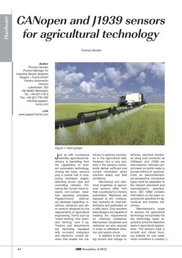 CANopen and J1939 sensors for agricultural - CAN in Automation ...