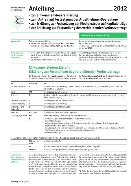 Anleitung Zur Einkommensteuererklarung 2012 Finanzamt Bayern