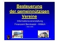 Besteuerung der gemeinnützigen Vereine - Das Finanzamt Wittlich