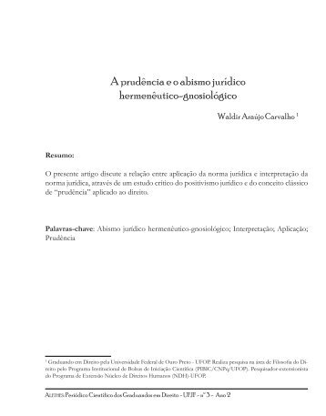A prudência e o abismo jurídico hermenêutico ... - Periódico Alethes