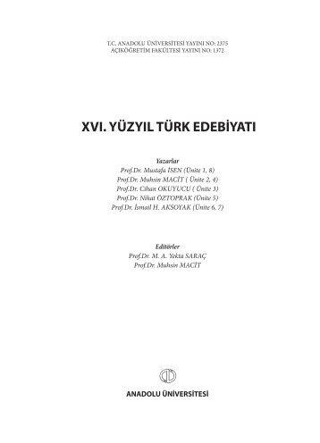 xvı. yüzyıl türk edebiyatı - Anadolu Üniversitesi