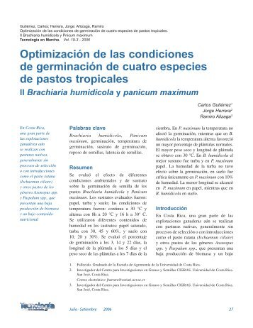 Optimización de las condiciones de germinación de cuatro ... - TEC