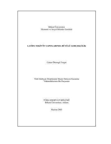 Bilkent Üniversitesi Ekonomi ve Sosyal Bilimler ... - Bilkent University