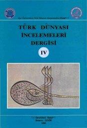 türk dünyası incelemeleri dergisi ıv - Ege Üniversitesi