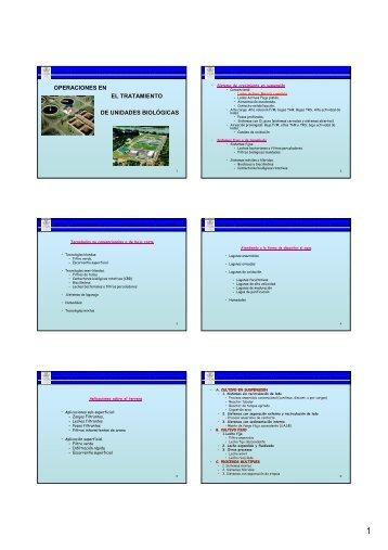 Operación de diferentes tipos de unidades de tratamiento