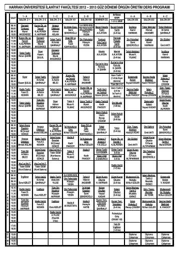2012-2013 öğretim yılı güz dönemi ilahiyat bölümü