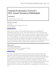National Performance Network's 2012 Annual Meeting in Philadelphia