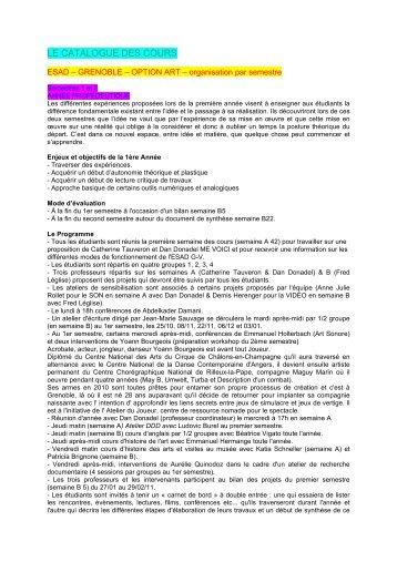 le catalogue des cours - 'École supérieure d'art et design Grenoble