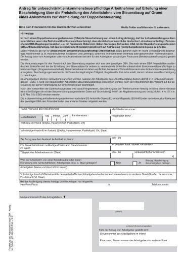 Antrag bei Vorliegen von  Doppelbesteuerungsabkommen