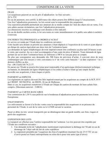 CONDITIONS DE LA VENTE - Interencheres.com