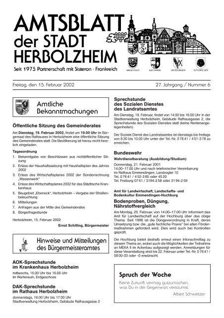 Herrn Raimund Behr - Stadt Herbolzheim