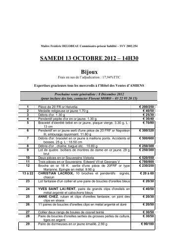SAMEDI 13 OCTOBRE 2012 – 14H30 Bijoux - Interencheres.com