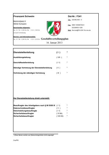 Geschäftsverteilungsplan 2. Januar 2013 - Finanzamt Schwelm
