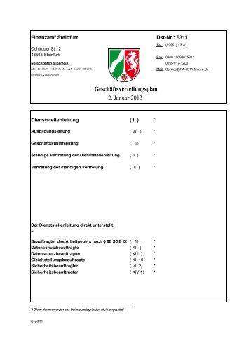Geschäftsverteilungsplan 2. Januar 2013 - Finanzamt Steinfurt
