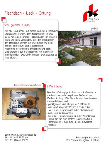 Flachdach - Leck - Spenglerei Peter Koch GmbH