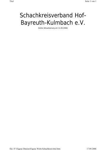 Termine und Paarungen - Schachkreise Hof-Bayreuth