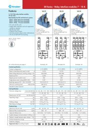 Features 58 Series - Relay interface modules 7 - 10 A - Finder