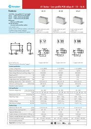 Features 41 Series - Low profile PCB relays 8 - 12 - 16 A - Finder
