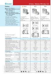 Features 45 Series - Miniature PCB relays 16 A - Finder