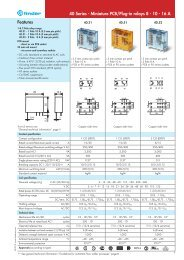 Features 40 Series - Miniature PCB/Plug-in relays 8 - 10 ... - Finder