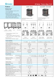 Features 62 Series - Power relays 16 A - Finder