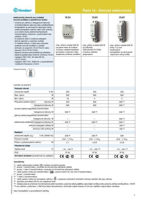 Řada 15 - Stmívač elektronický - Finder