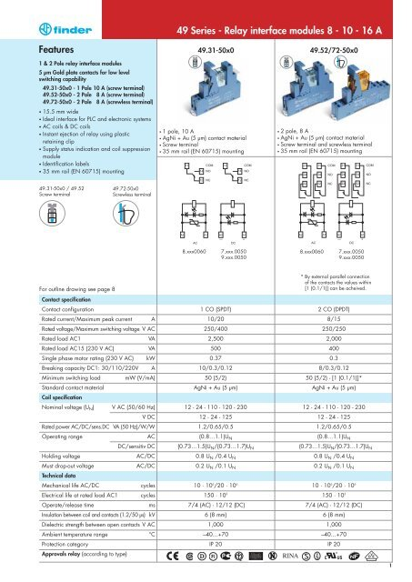 Features 49 Series - Relay interface modules 8 - 10 - 16 A - Finder